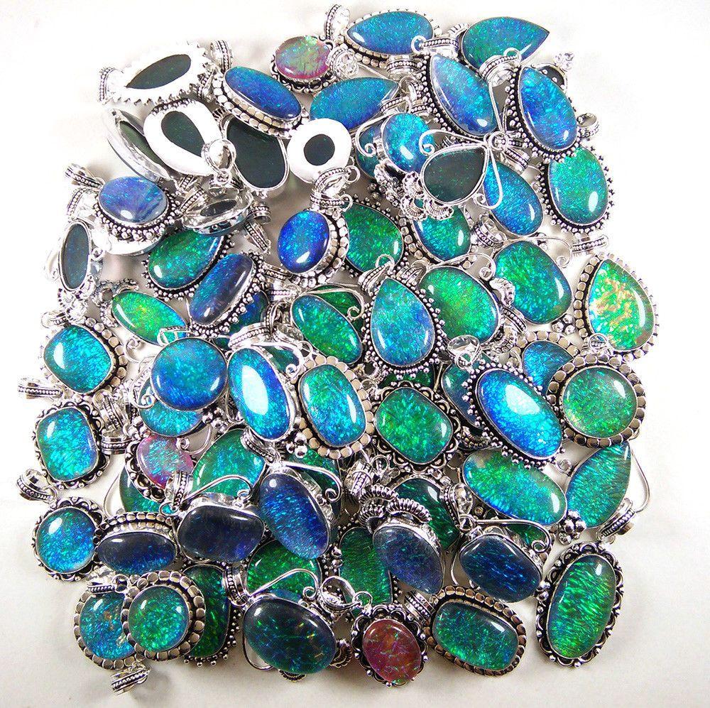 Natural Rainbow Moon Gemstone 925 Sterling silver Overlay Lot Rings 10pcs