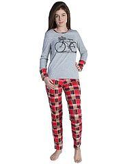 Пижама Малина  Пижама состоит из лонгслива и брюк. Лонгслив с печатью на полочке. Рукава на широкой манжете в цвет брюк. Состав: Кулирная гладь ( 100% хлопок).. Пижама Малина промокоды купоны акции.