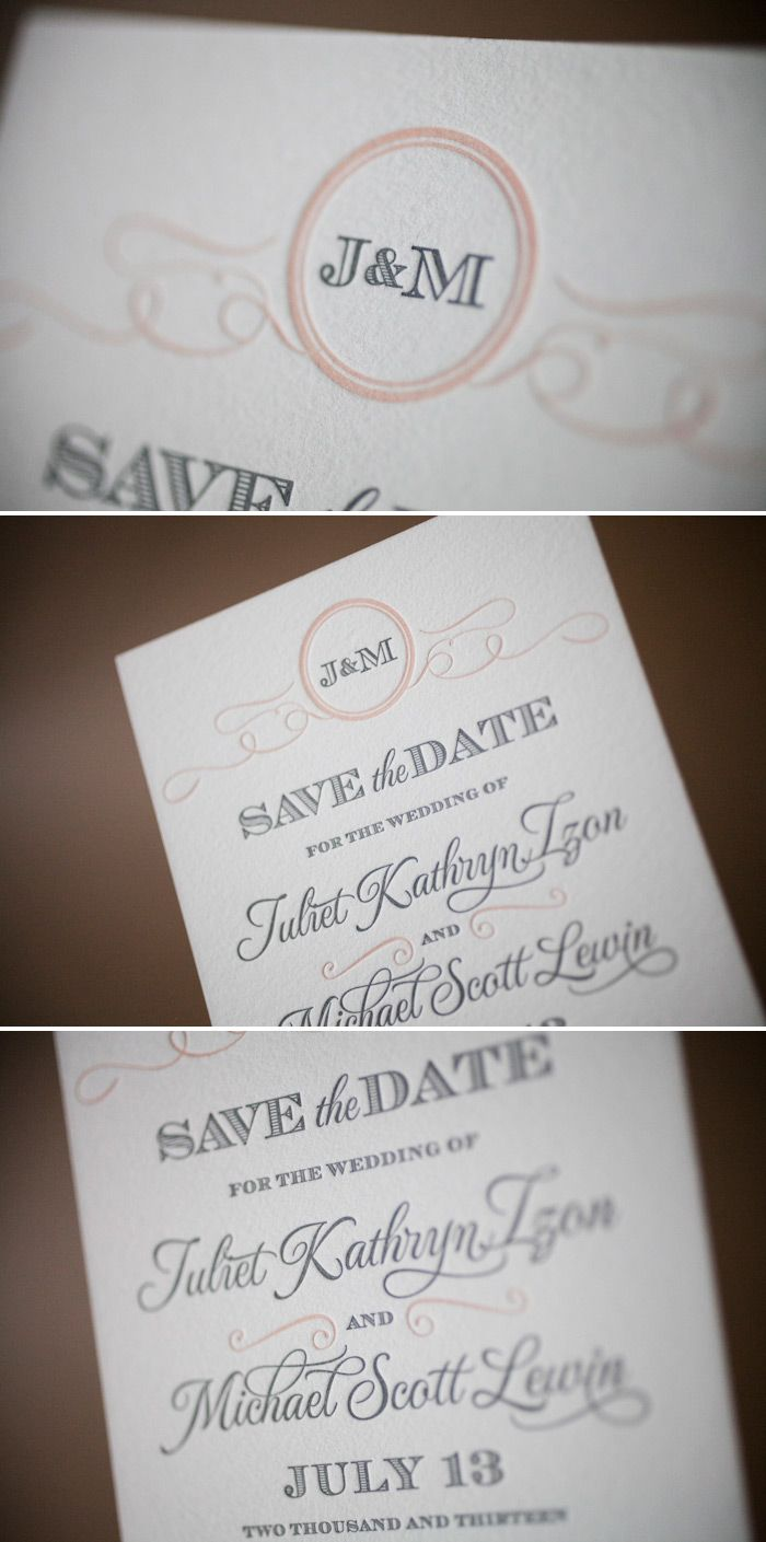 Romantic Traditional Letterpress Save The Dates Say No To