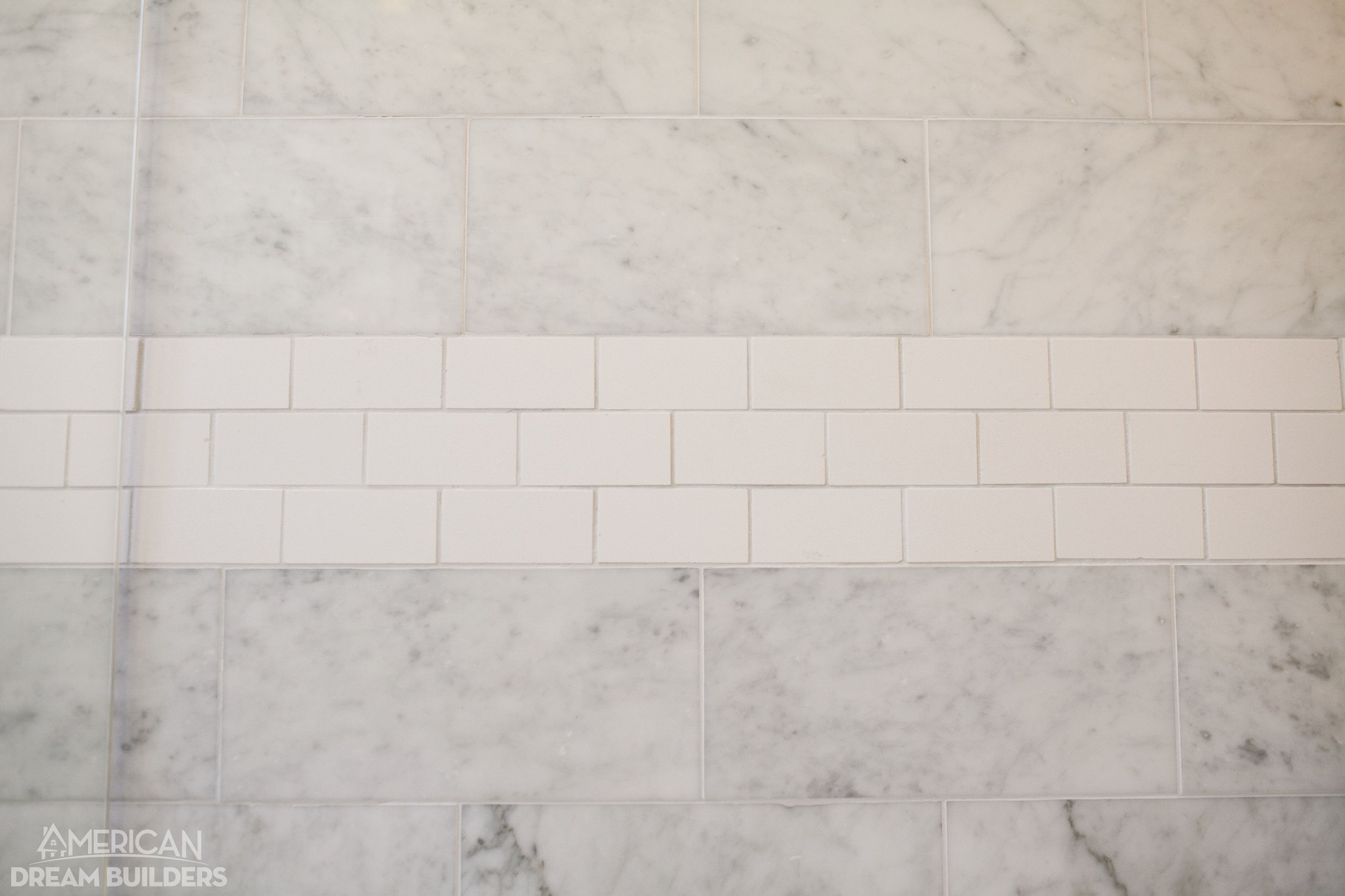 Wall Tile Florentine 10 X 14 Carrara Fl06 With Rittenhouse Square 3 X 6 Artic White 0190 Dreambuilders Daltile Small Bathroom Remodel Upstairs Bathrooms