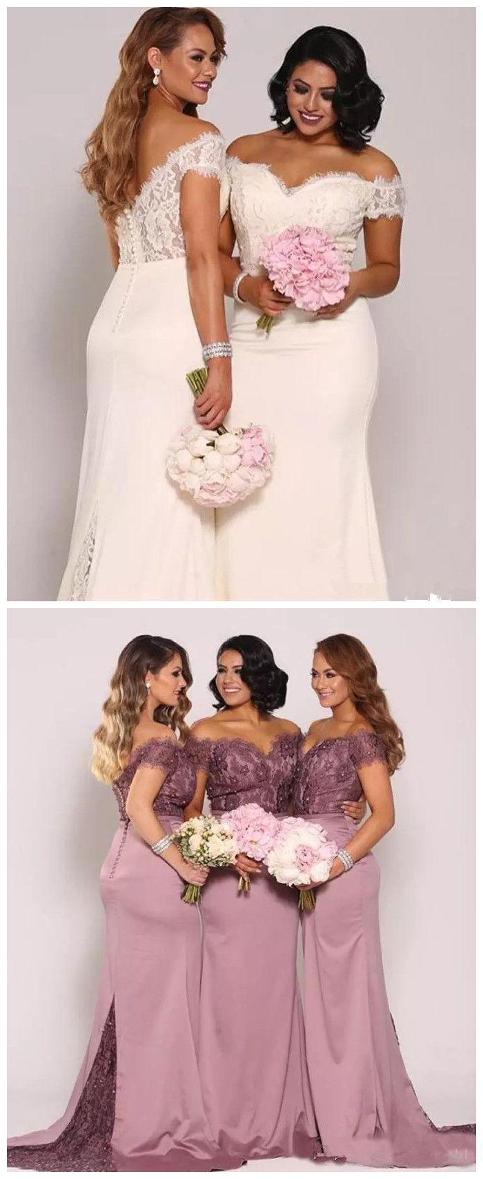 New mermaid lace bridesmaid dresses plus size cheap formal maid of
