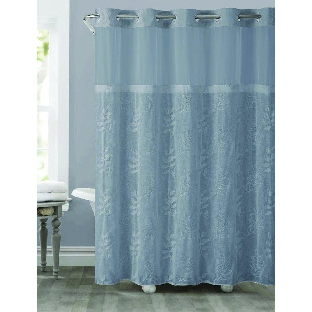 Hookless Palm Leaves Shower Curtain With Snap On Liner Blue