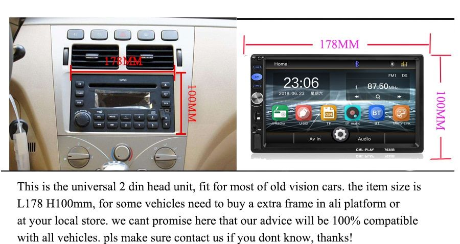 2din Car Radio 7 inch Touch mirrorlink Android Player
