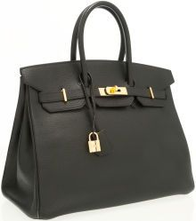 be1158ea499 Luxury Accessories:Bags, Hermes 35cm Black Ardennes Leather Birkin Bag with Gold  Hardware.