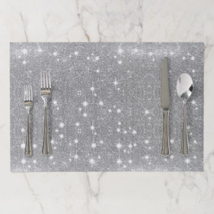 Silver Glitter Sparkle Metal Metallic Look Paper Placemat Decor Diy Cyo Customize Home