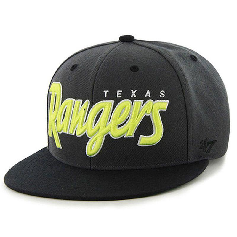 19280021621 Texas Rangers  47 Neon Retroscript Snapback Adjustable Hat - Black ...