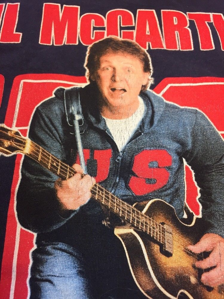 PAUL MCCARTNEY 2005 Tour XL Blue T Shirt Extra Large Concert Rock Beatles