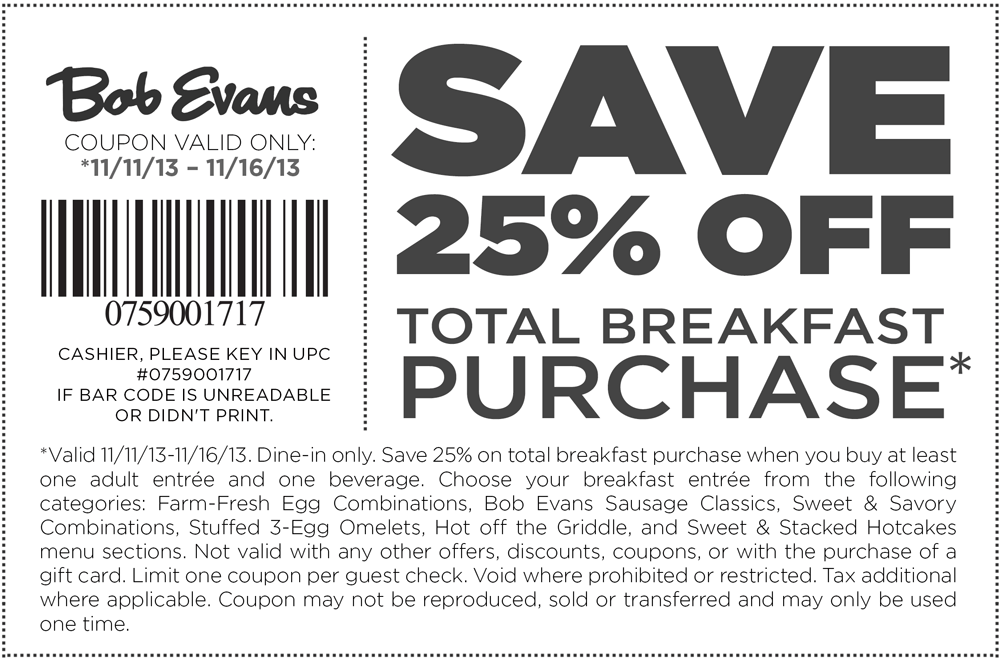 Pinned November 12th 25 Off Breakfast At Bob Evans Coupons Via The Coupons App Printable Coupons Coupon Apps Coupons
