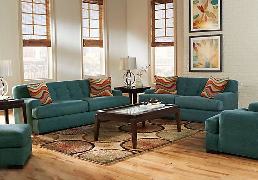 Picture Of Cindy Crawford Avery Place Teal 7Pc Classic Living Room From Living  Room Sets Furniture
