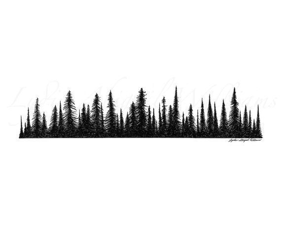 Line Art Forest : Forest silhouette tattoo half sleeve