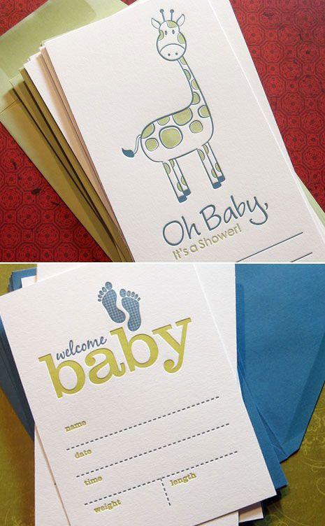 Sweet Harvey Letterpress Baby Invites Announcements events
