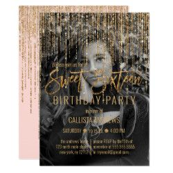 Pink Gold Glitter Fringe Curtain Photo Sweet 16 Invitation | Zazzle.com #curtainfringe