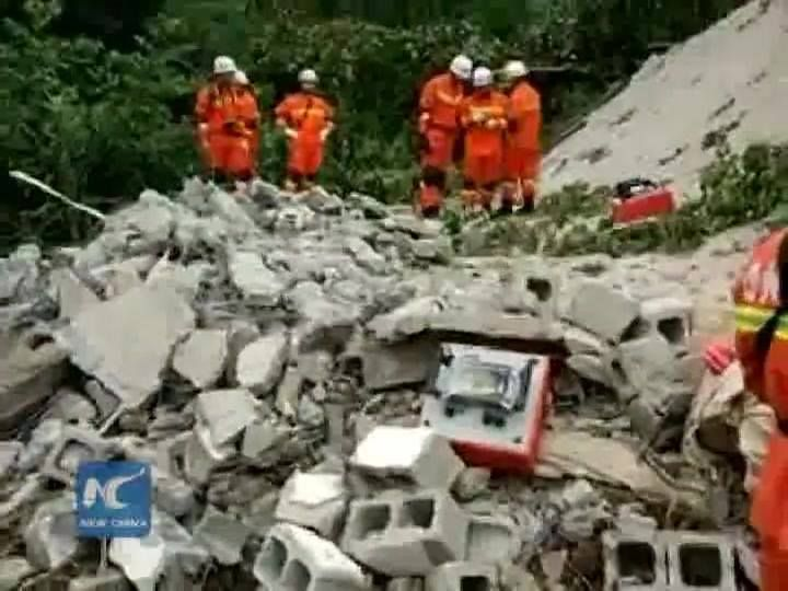 Ten people died after heavy rain caused a landslide in a village in SW China's Guizhou Province.