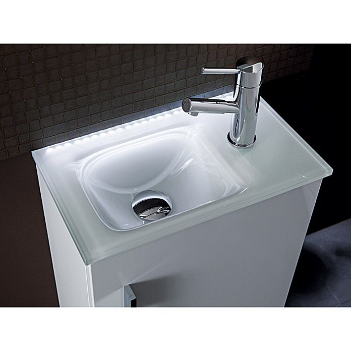 Camargue Stella Mini Waschtisch 25 X 45 Cm Glas Weiss Bauhaus Waschbecken Waschbecken Unterschrank