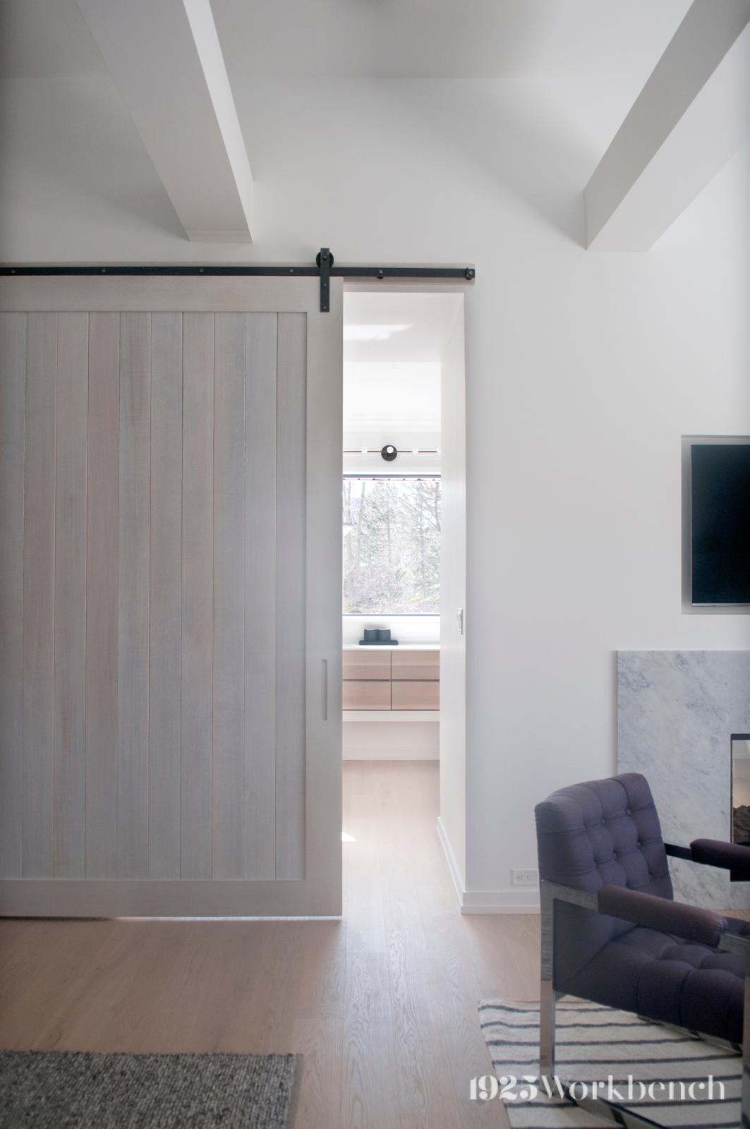 We Made Doors And Vanity For House Designed By Studio Ac Barndoors Whiteoak Vanity 1925workbench Custom Barn Doors Barn Door Custom Door