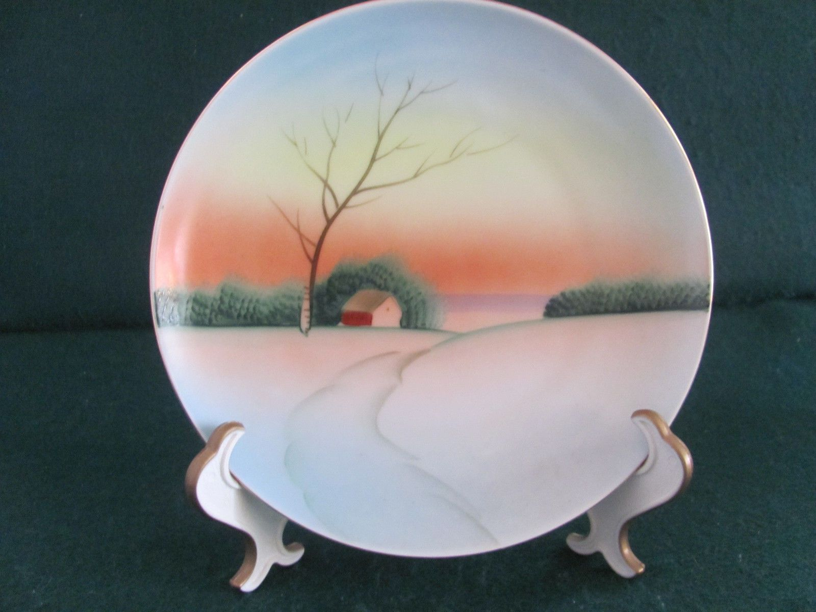 """VTG MEITO CHINA 7 1/2"""" HAND PAINTED PLATE MULTI-COLORED LANDSCAPE MADE IN JAPAN 