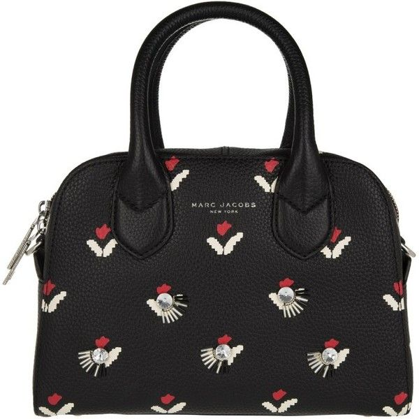 Marc Jacobs Handle Bag - Embellished Tulip Small Bowling Bag Black -... (7.025.310 IDR) ❤ liked on Polyvore featuring bags, handbags, black, zip purse, leather hand bags, real leather purses, top handle handbags and man bag