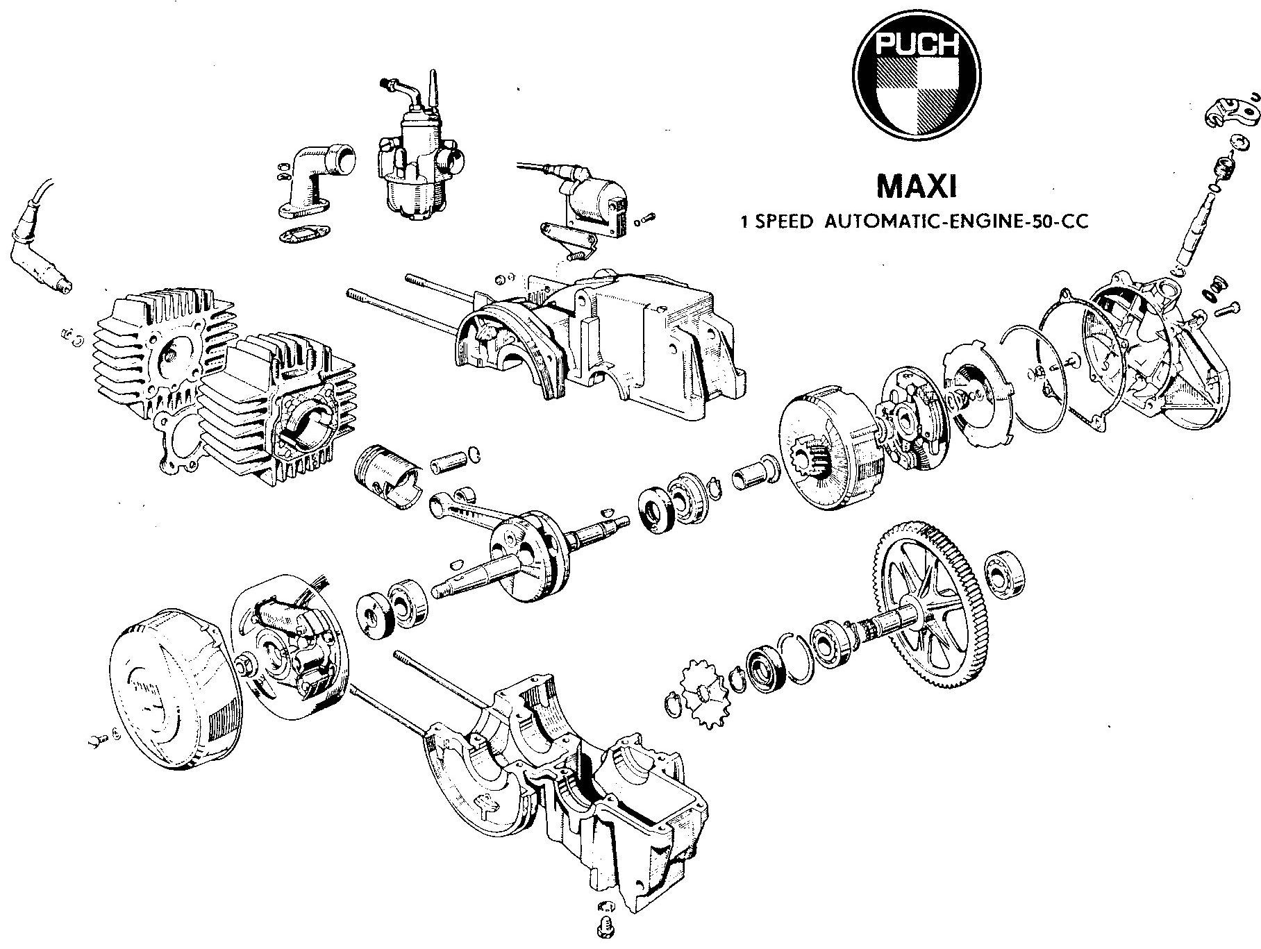 Handy diagram of the E50 Puch engine. Exploded View, Motorcycle Engine,  Wasp,