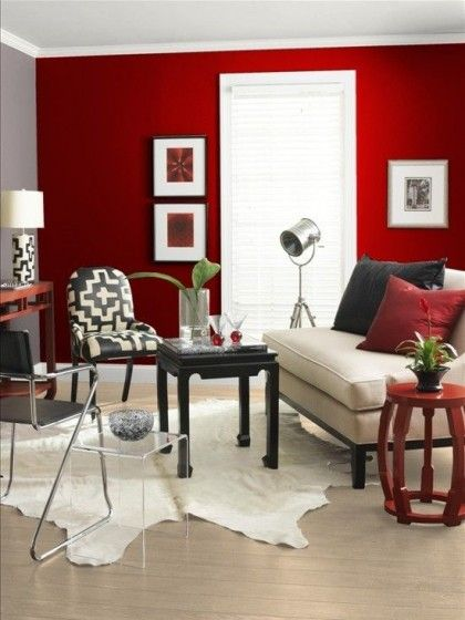 salon mur rouge peinture Home Interior Design Pinterest