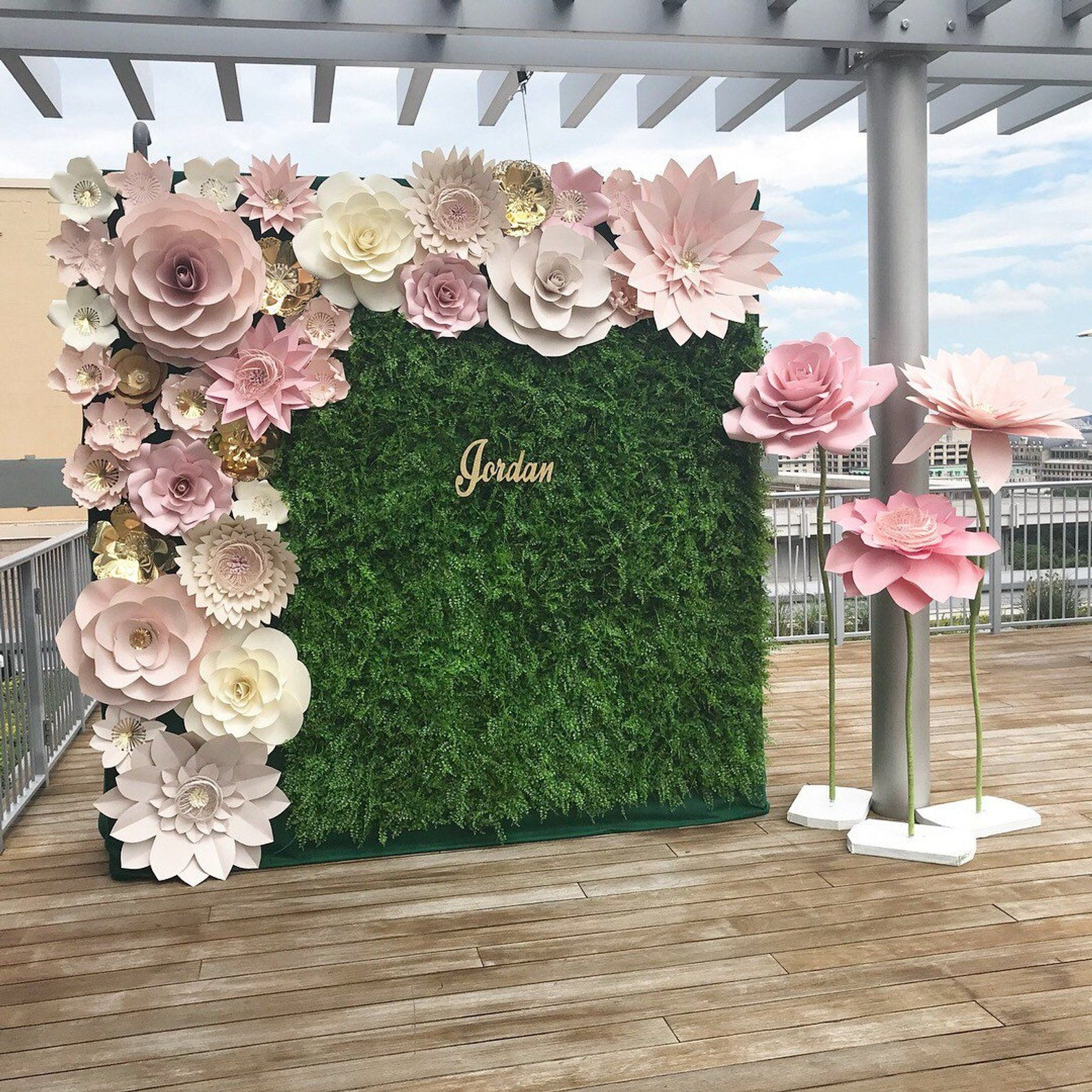 """premium flower wall is part of Flower wall wedding - THIS LISTING IS FOR FLOWERS PICTURED ON BACKDROP ONLY SELF STANDING FLOWERS OR GREENERY ARE NOT INCLUDED 8XL 20"""" 24 10M  10""""14"""" 20S  5""""8"""" This backdrop consists of extra large flowers   handmade from highquality card stock paper   I use only highquality card stock paper so that the flowers"""