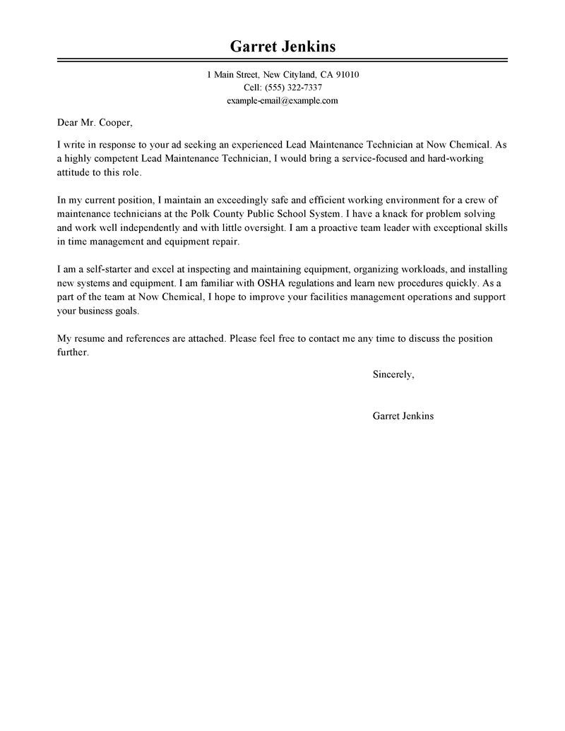 Leading Professional Facility Lead Maintenance Cover Letter Sample
