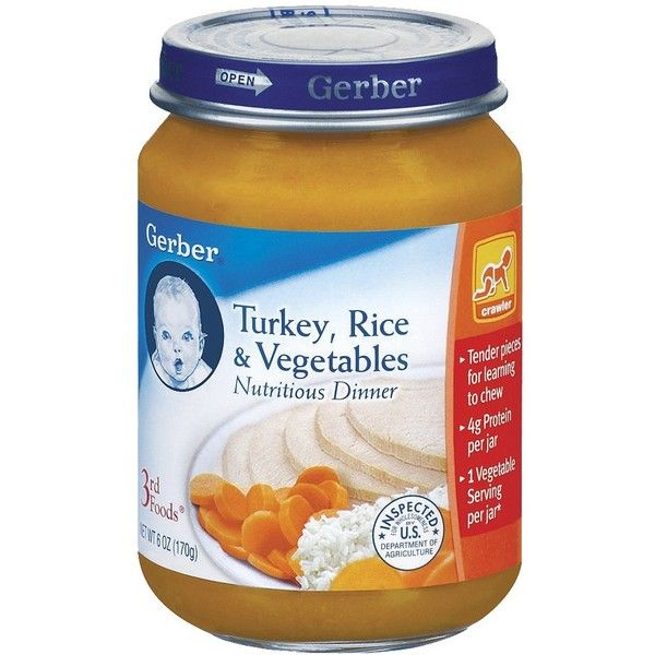 Gerber 3rd Foods Turkey Rice And Garden Vegetables Dinner 6 0 Oz 12 10 Liked On Polyvore Featuri Vegetable Dinners Gerber Baby Food Baby Food Recipes