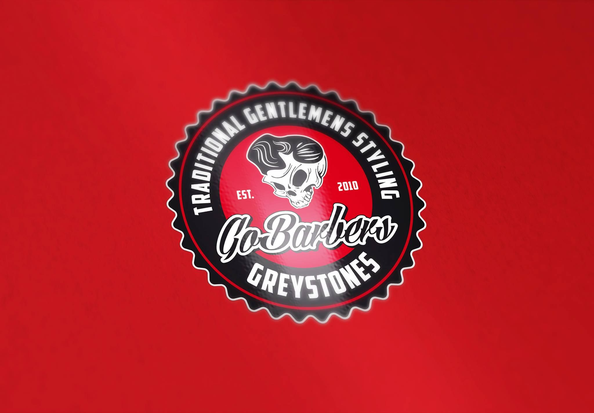 Vintage, retro logo design for Go Barbers Greystones. Copyright 2015. All rights reserved