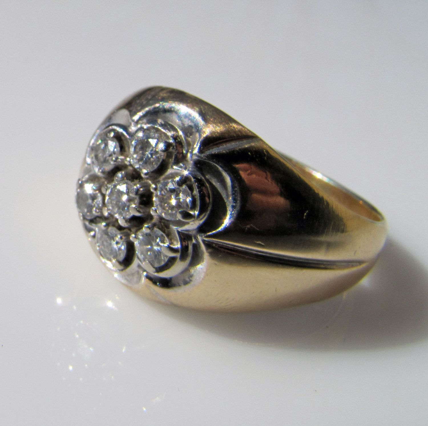Art Deco Men s 14K Gold Diamond Cluster Gypsy Ring Classical Wide