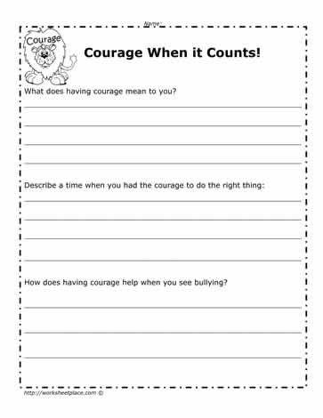 Courage Worksheet | courage worsheet | Character education ...