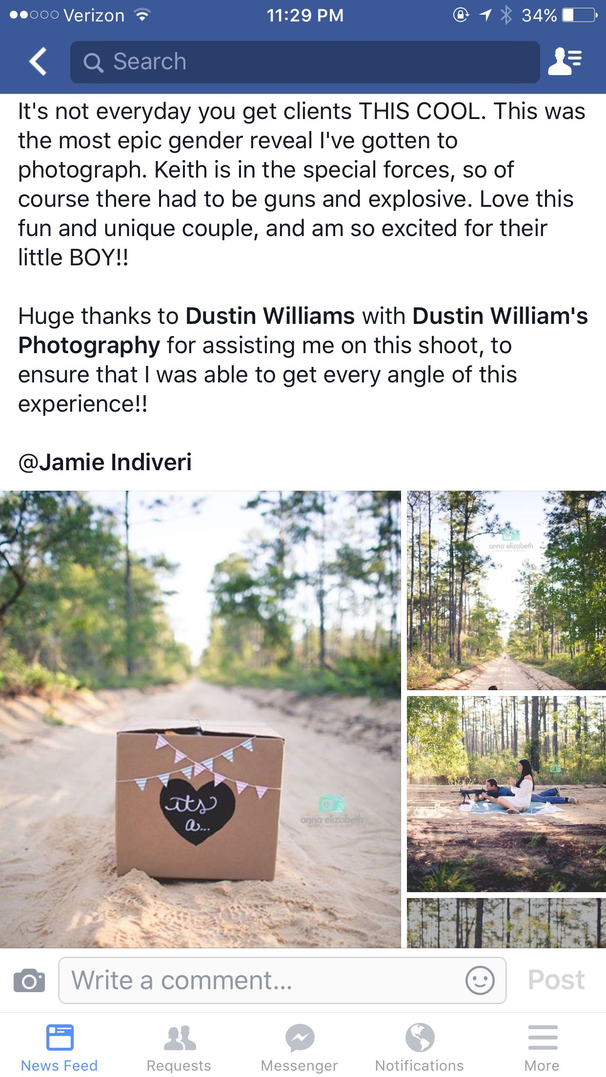 Gender reveal- shooting at an explosive dyed pink or blue!!