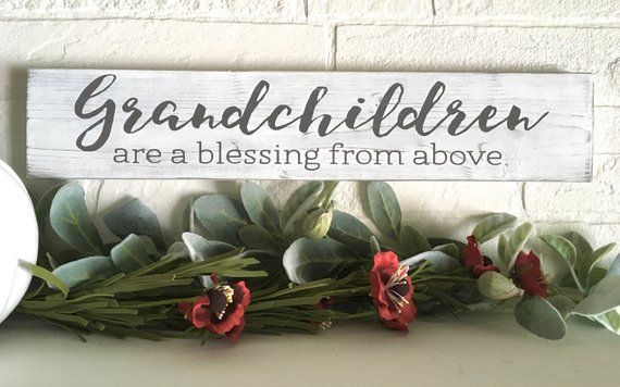 Grandchildren Are Blessings From Above Wood Sign|Grandparent Gift|Grandma Gift Idea|Grandchildren Quote Wall Art