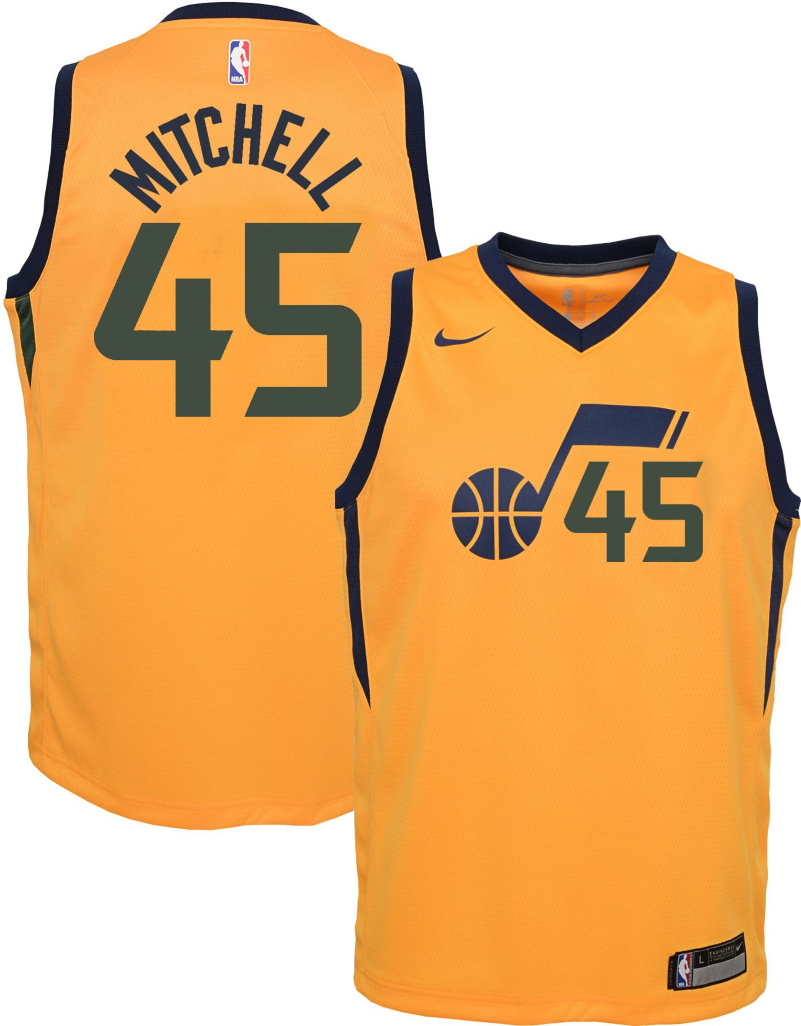 bb4d034858a Nike Youth Utah Jazz Donovan Mitchell  45 Gold Dri-FIT Swingman Jersey