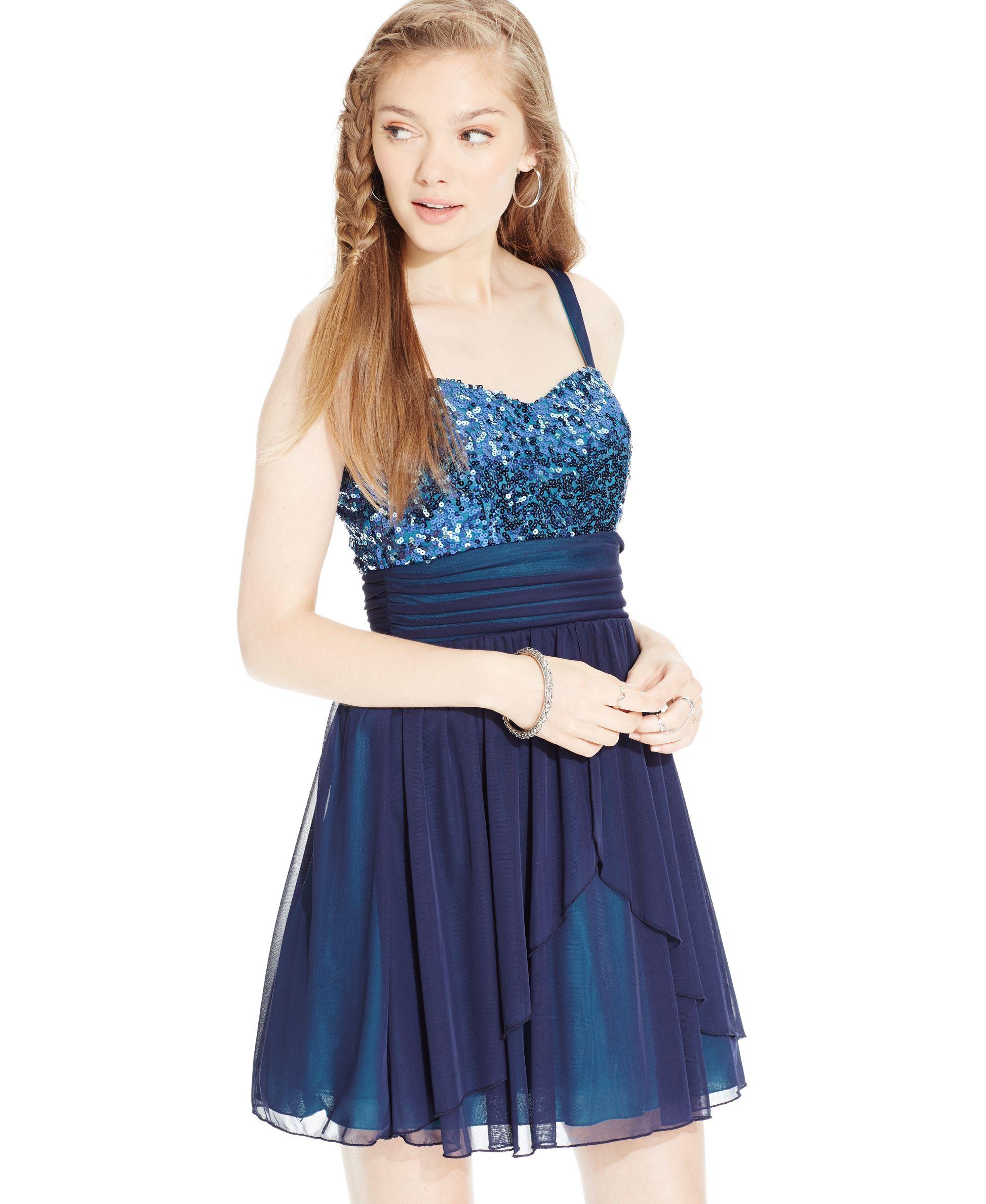 Speechless Juniors\' Sequin-Embellished Chiffon Party Dress - Juniors ...