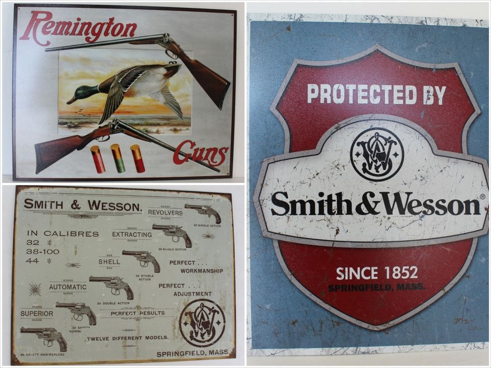Lot Smith & Wesson Remington Advertising Signs Guns VTG Old