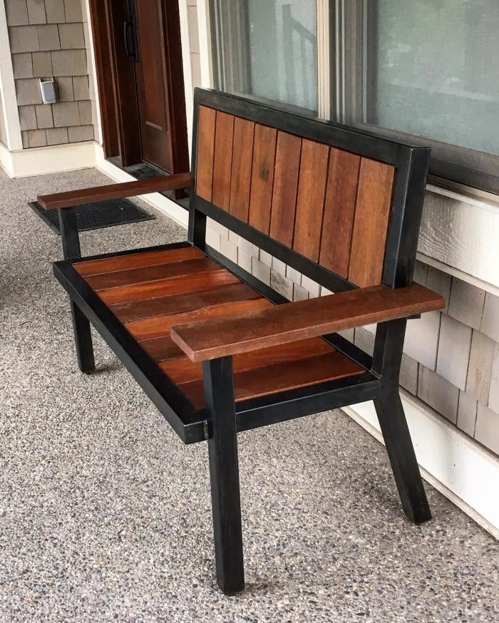 Sill n de hierro y madera sill n exterior pinterest for Sillon madera exterior