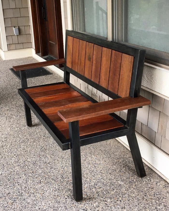 Sill n de hierro y madera bancas para jard n muebles for Muebles industriales metal baratos