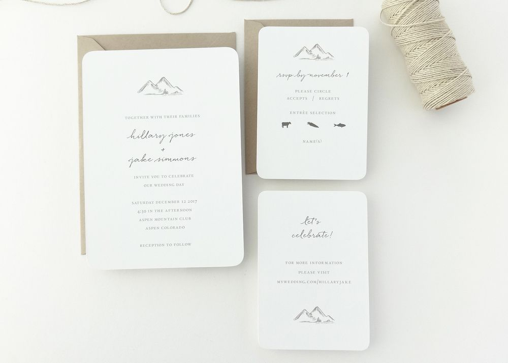 Mountains Wedding Invitation | Classic, timeless letterpress wedding ...