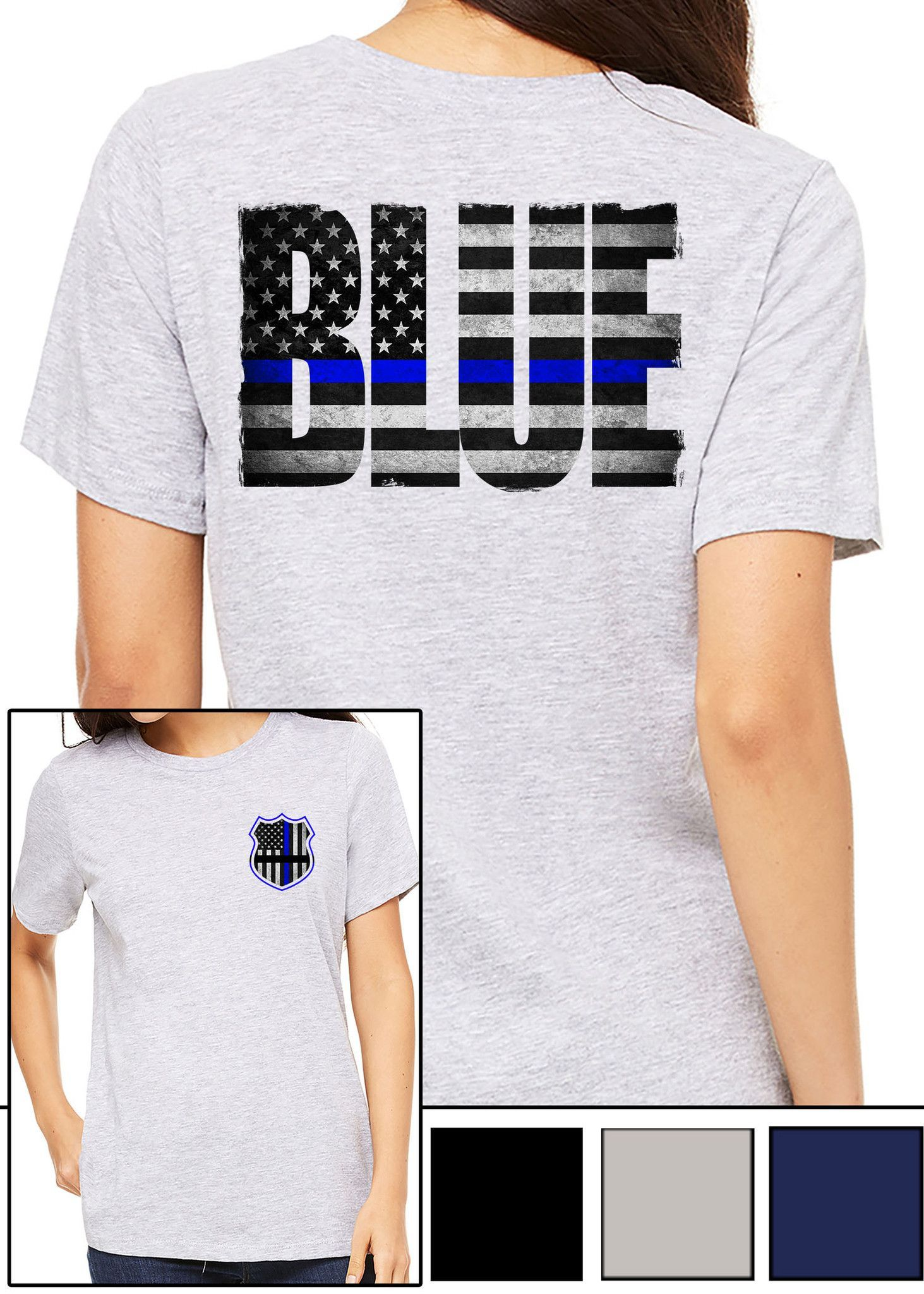 f8403da5 WOMEN'S T-SHIRT- BACK THE BLUE   My dad   T shirts for women, Women ...