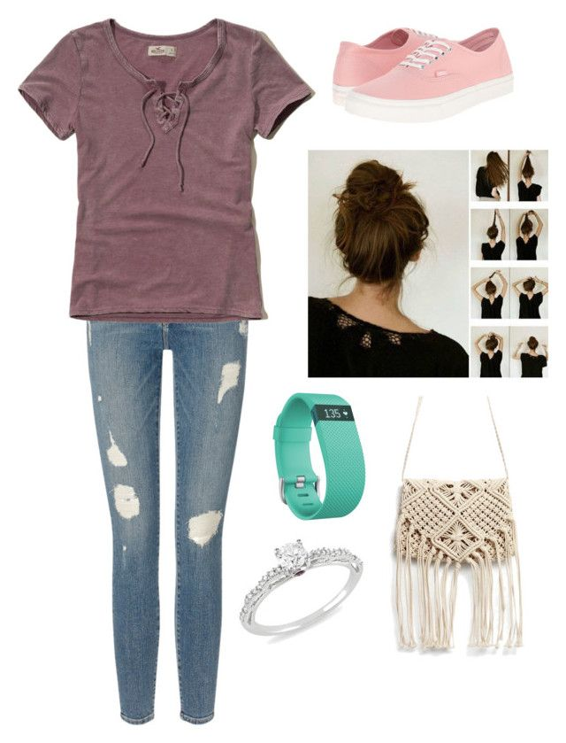 """""""Untitled #399"""" by rikey-byrnes on Polyvore featuring Frame Denim, Hollister Co., Vans, Fitbit and Ice"""