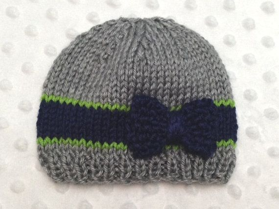 28ad143dd4b Gray Seahawks Baby Hat with Bow by DesignsbyLeahC