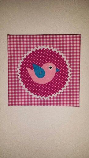 Vogel met vilt op canvas