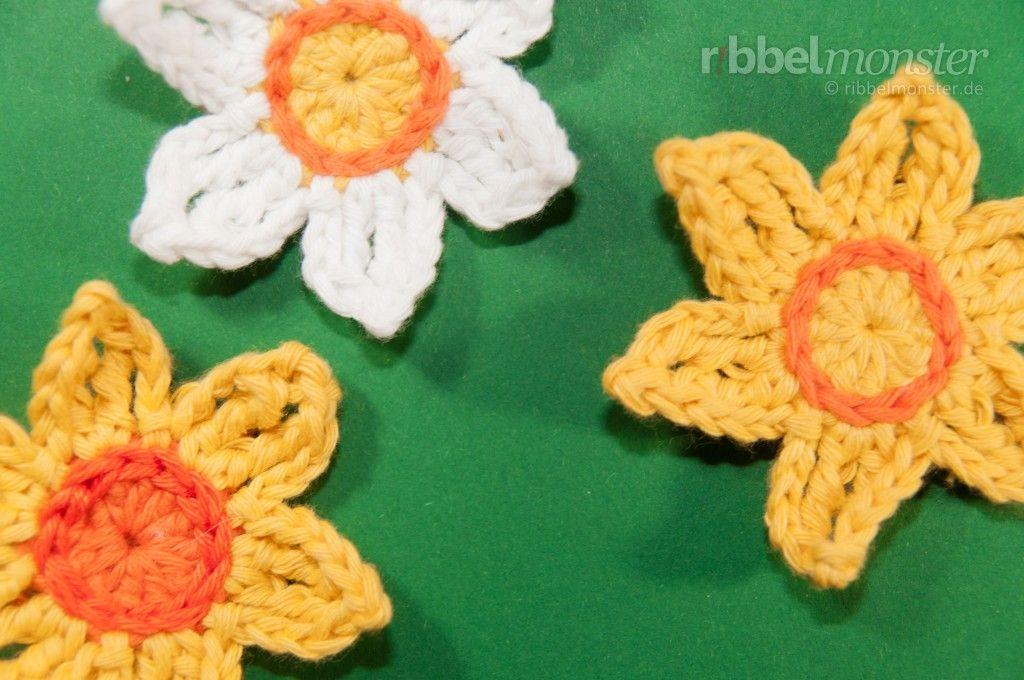 Blumen häkeln: Osterglocken häkeln | gehäkelte Applikationen ...