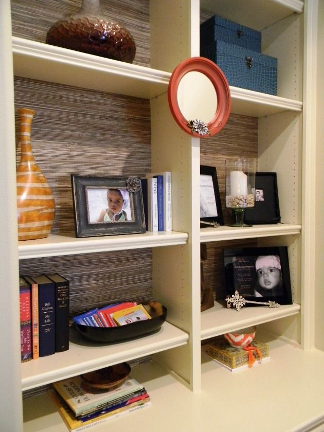 Built In Bookcases Backed By Grasscloth Wallpaper Deisgned By