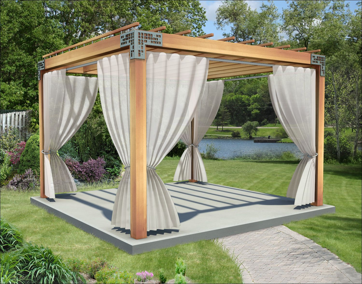 This 10 X 10 Cedar Echoes One Pergola Is Featured Here With 6 X 6 Posts 2 X 8 Header Beams 2 X 6 Runner Outdoor Pergola Backyard Pergola Small Pergola