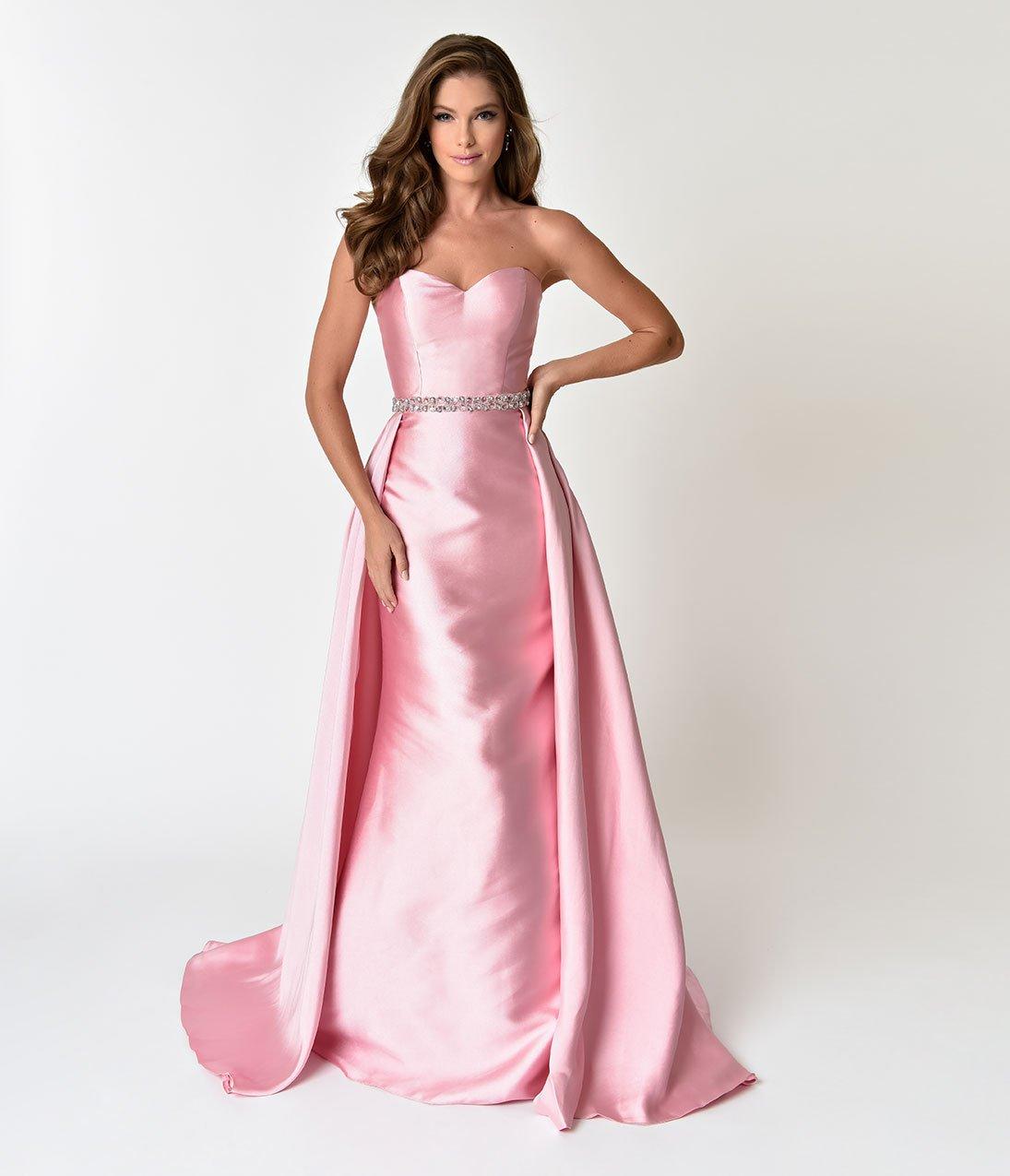 1950s Vintage Evening Dress Pink Strapless Sweetheart Neckline Satin Prom Gown Evening Dresses Vintage Prom Gown Vintage Dresses [ 1275 x 1095 Pixel ]
