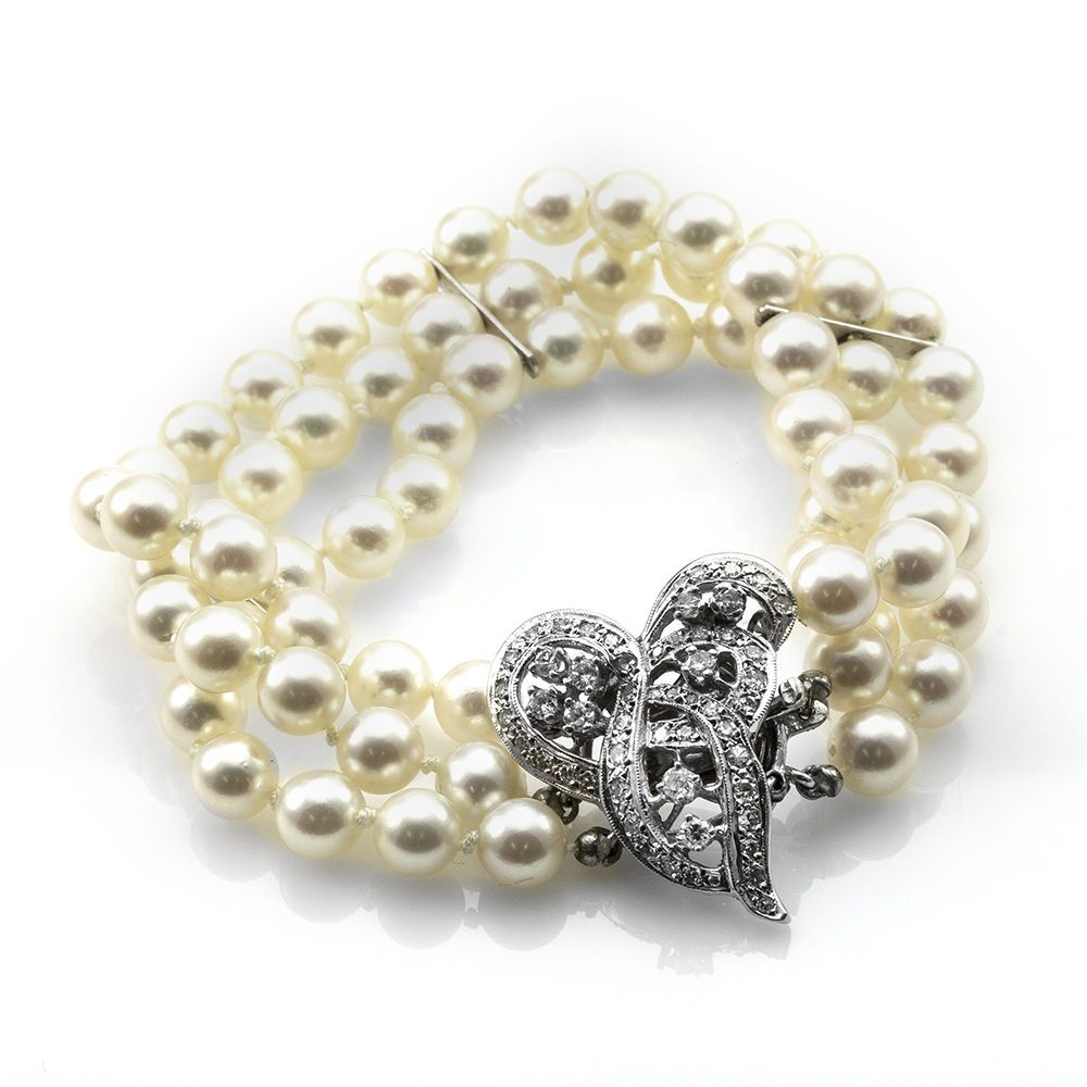 Details About 3 Strand Pearl Bracelet W Fancy Pavé Diamond Clasp In 14k White Gold Fj Bix
