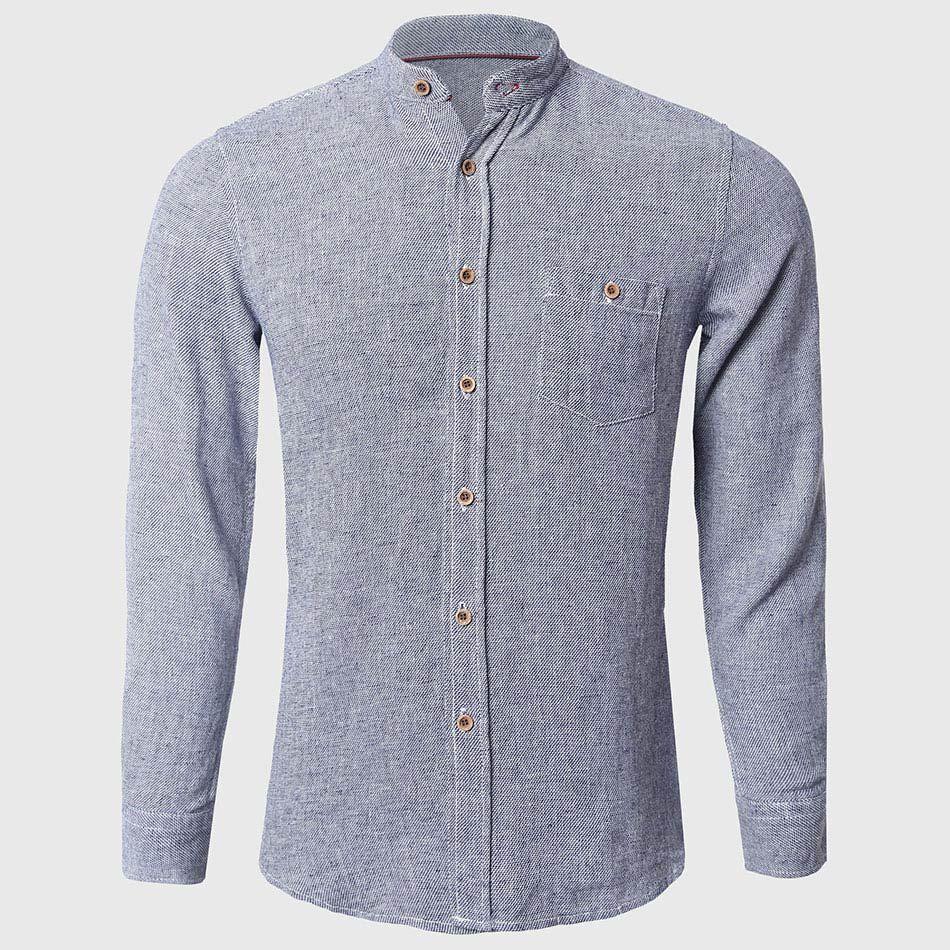 Cotton Linen Shirts Men Plain Long Sleeve Shirts Mandarin Collar