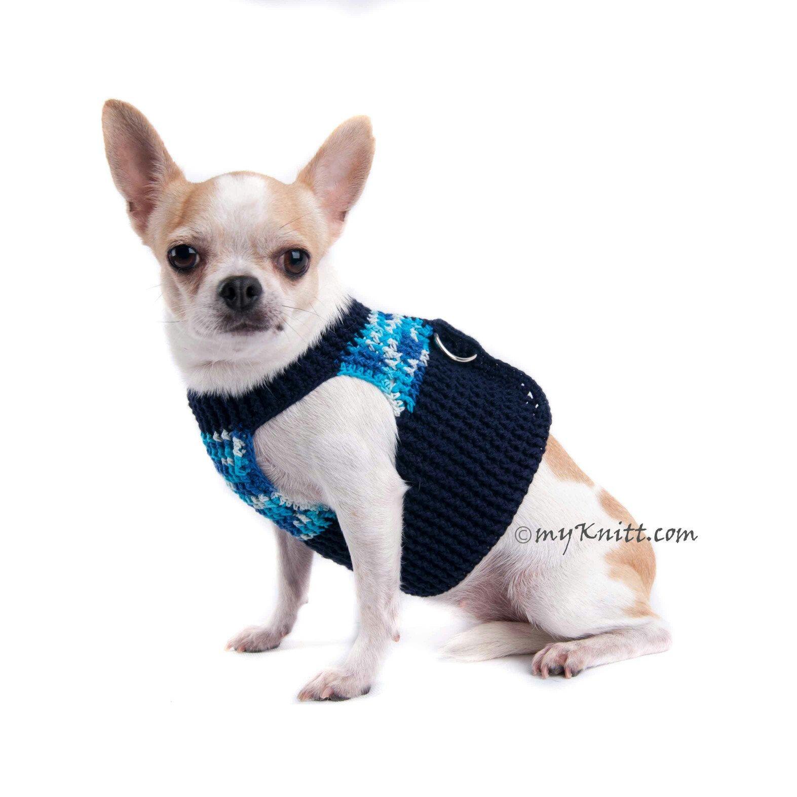 Dog Harness Vest Blue Cotton Pet Clothes Choke Free Soft Puppy