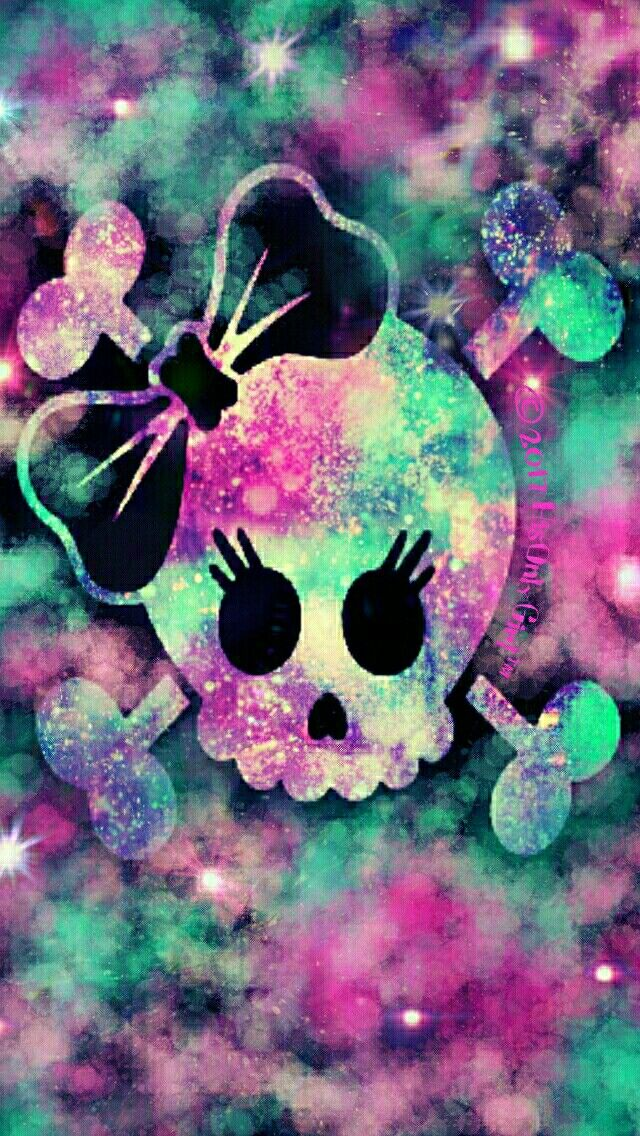 Girly Skull Galaxy Iphoneandroid Wallpaper I Created For