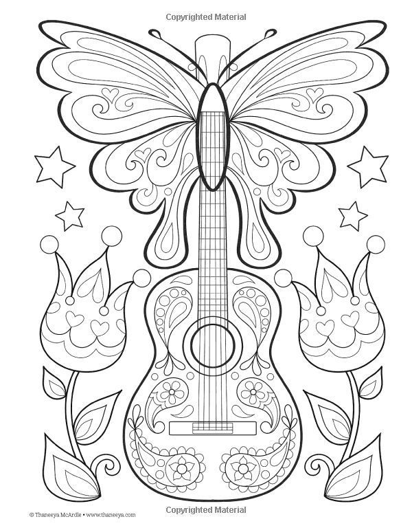 Guitar Peace Love Coloring Book I Thaneeya Mcardle Desenhos